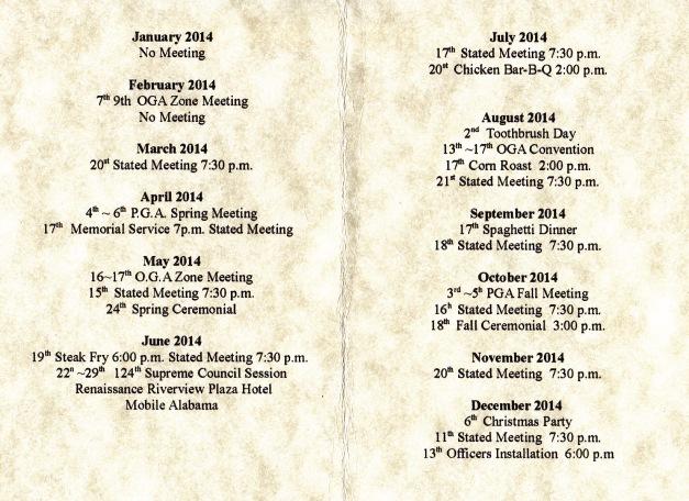 Kismet Grotto 2014 Calendar